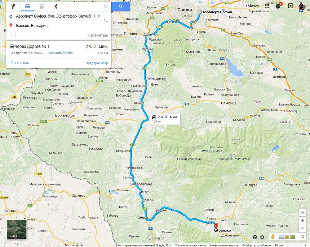 карта автомобильного маршрута из Софии в Банско