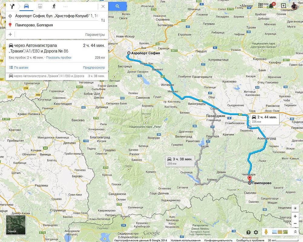 Карта автомобильного маршрута из Софии в Пампорово